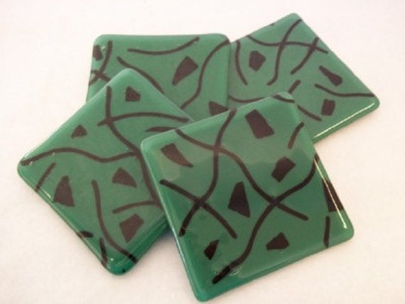 FUSED GLASS COASTERS - Jade Green and Black Fused Glass Coasters - Set of 4, Green Black Coasters, Coasters for Glasses, Glass Coasters