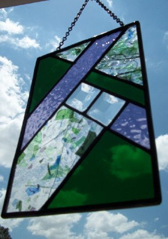 Geometric Purple & Green Stained Glass Window Panel Suncatcher