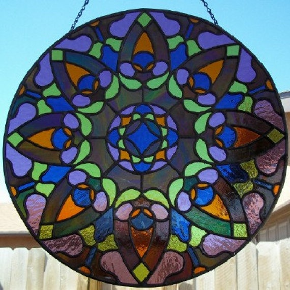 Diamond Rose Stained Glass Window Mandala Panel