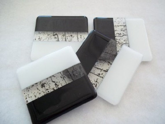 Bold Black and White Stripe Glass Coasters - Set of 4