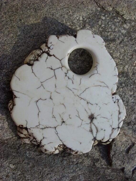 HUGE Natural White Magnesite Donut Primitive Natural Rough Edges Focal bead Component