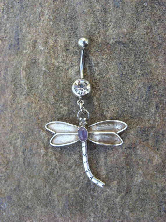 Shimmering Sterling Silver Dragonfly Amethyst 14G Belly ring Bellyring Surgical Steel Barbell