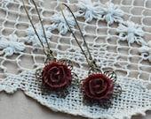 Wine Flower Dangle Earrings