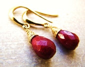 Indian Ruby Earrings in Gold or Silver. July birthstone