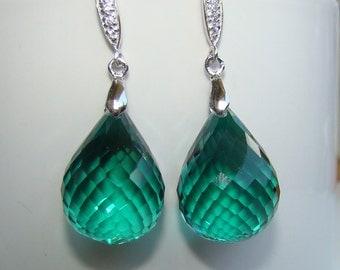 Green Amethyst Earrings in Sterling Silver. Luxury jewelry