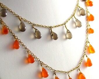 Orange Carnelian Smoky Quartz Necklace in Gold