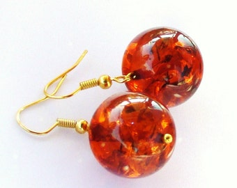 Sale Amber Earrings Caramel-gold silver or rose gold
