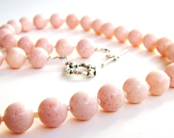 Genuine Pink Blush Coral 12 mm beaded Necklace