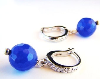Sale Sapphire Silver Pave Earrings