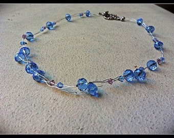 SALE Blue Swarovski Necklace. Crinkle wavy necklace.  Unique and one of a kind.