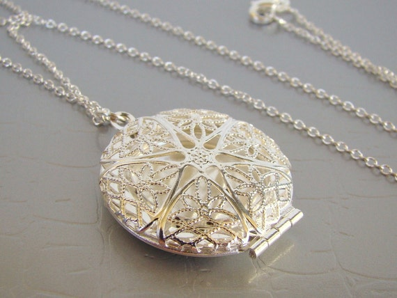 SALE Silver Locket Necklace - FREE UPGRADE from 16 to 30 inches long