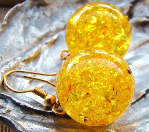 Dale yellow Round Amber 18 mm Earrings HAPPINESS