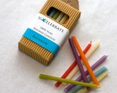beeswax birthday candles--rainbow colors