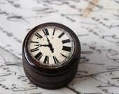 Pill Box - Time After Time Pill Box, Wood Pill box, Small Pill Box, Ring Box, Ring bearer Box, Wedding Ring Box, Clock, Roman Numeral Clock