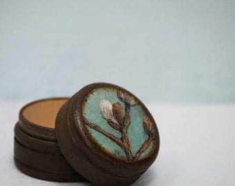 Pussy willow pill box, Small powder box, Small pill box, Wood boxes, Gift Box, nature, Handmade, Jewelry box, Storage, Container, Willow