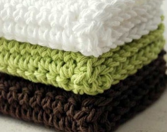 Woodland Elf Green, Brown and White Wash Cloths
