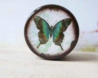 Turquoise Butterfly Powder Box