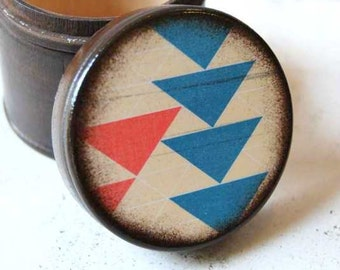 Balance Wood Box / Powder Box / Geometric / Salmon / Blue / Triangle / Modern / Storage / Wood Boxes / Container / Desk Top / Office