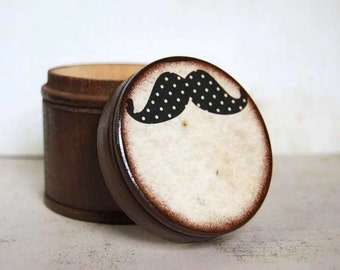 Large Mustache Wood Box -