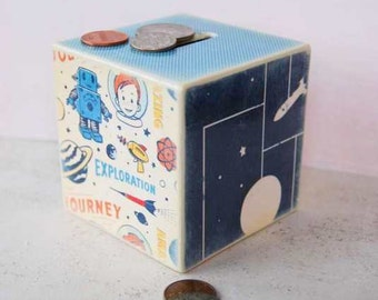 Piggy Bank, Outer Space Wood Bank, Wooden Coin Bank, outerspace, Kids Room Decor, Robot Piggy Bank, Money Box, Coin Box, Boys room, Space