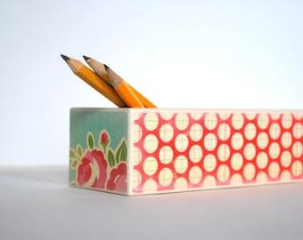 Pretty Polka Dot Pencil Box, Pencil Case, Wood Box, Supply Box, Craft Box, Bright, Bold, Kids, School Supplies, Storage, Art Supplies