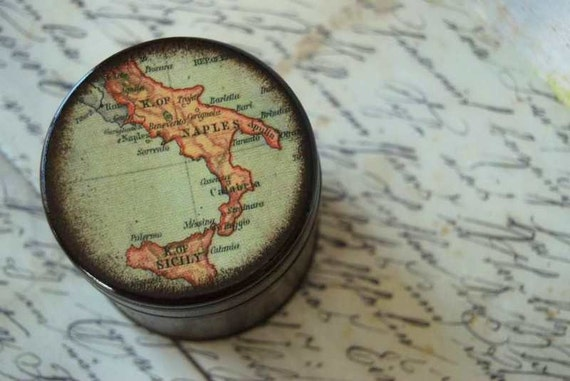 Map of Italy Large Wood Box