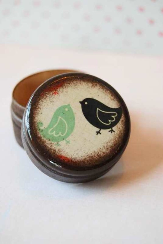 Pill Box Black And Teal Love Birds Wedding Ring Box Valentine's Day Gift Small Pill Box