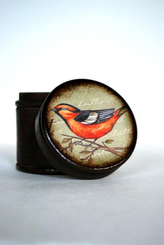 Orange Bird Wood Box