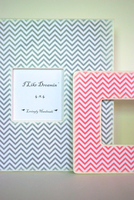 Gray Chevron Large Picture Frame