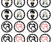 Wedding Lovely Couple - PDF Printable Circle - For Crafts, Stickers, Cupcake Toppers, Decoration