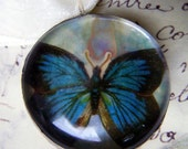Blue Butterfly Under Glass Hand Soldered Pendant Necklace