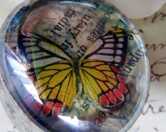 Yellow and Orange Butterfly Under Glass Hand Soldered Pendant Necklace