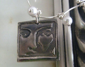 A Face in the Crowd OOAK Precious Metal Clay and Beaded Necklace