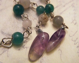 Dramatic and Delicate Green Aventurine and Amethyst Hand Beaded Earrings OOAK