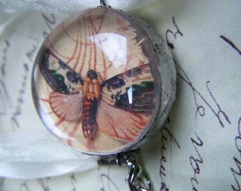 Death's Head Hawk Moth Under Glass Hand Soldered Glass Pendant