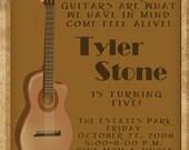 Guitar Digital Birthday Invitation