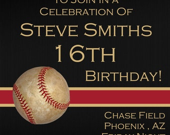 Baseball Sixteenth Digital Birthday Invitation