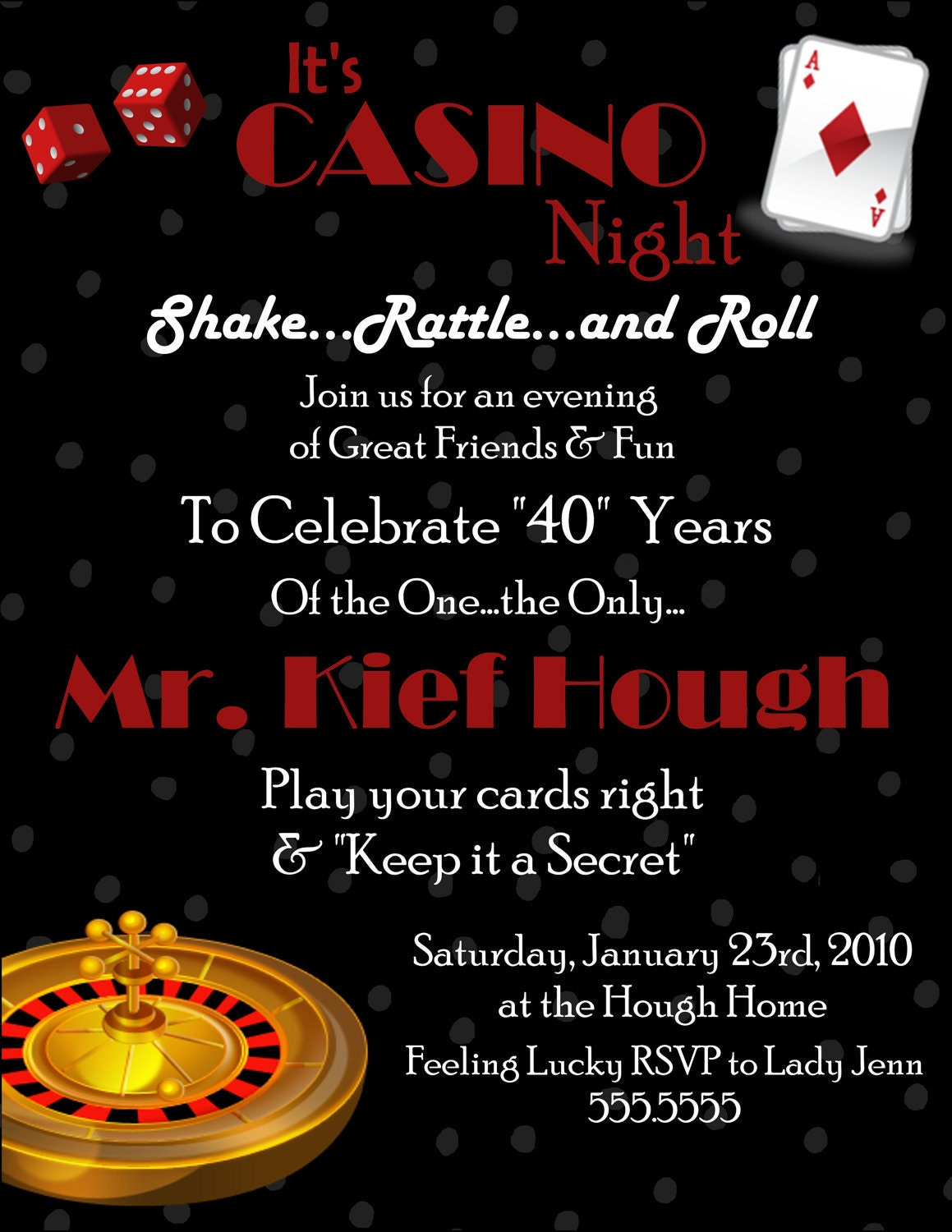 casino digital birthday invitation. Black Bedroom Furniture Sets. Home Design Ideas