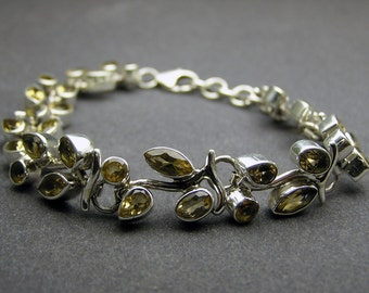Royal Princess Citrine  Yellow Artisan Handmade Bridal Bridesmaid Wedding  Gift Handcrafted  925 sterling  silver Unique  Bracelet Jewelry