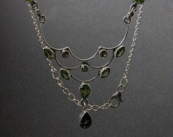 Artisan Handcrafted Handmade  using Sterling Silver and peridot gemsotne crystal Necklace unique jewelry piece