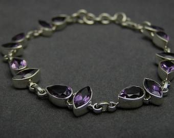 925 Sterling Silver Artisan Handcrafted Amethyst Gemstone Bridal Bridesmaid Wedding Gift  Handmade Jewelry Purple Annivesary Bracelet (A)
