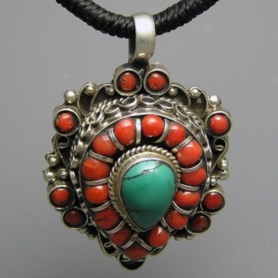 Artisan Handmade Red Coral Turquoise Gemstone light  Moon 925 Sterling Silver Jewelry Anniversary Gift Necklace