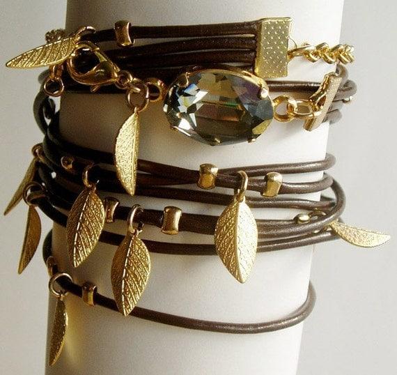 Multi Leather Gold Leaf Feather Swarovski Crystal  Wristband Bracelet necklace