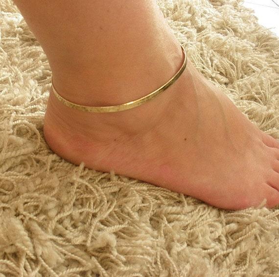 "9"" Gold GP 4mm Flexible Herringbone adjustable Ankle leg Bracelet Anklet"
