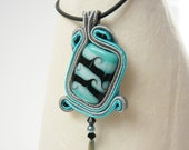 Cheshire Cat Pendant - Gray and Teal necklace