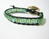Chan Luu Style waxed cotton and half crystal - black and green