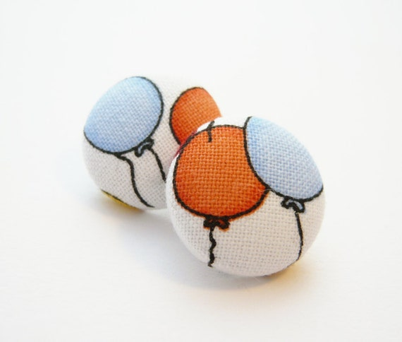 Colorful Balloons Button Earrings - orange and blue