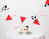 Bunting Coral Navy Polka Dot Pink Fabric Good Will Bunting Fresh LAST ONE
