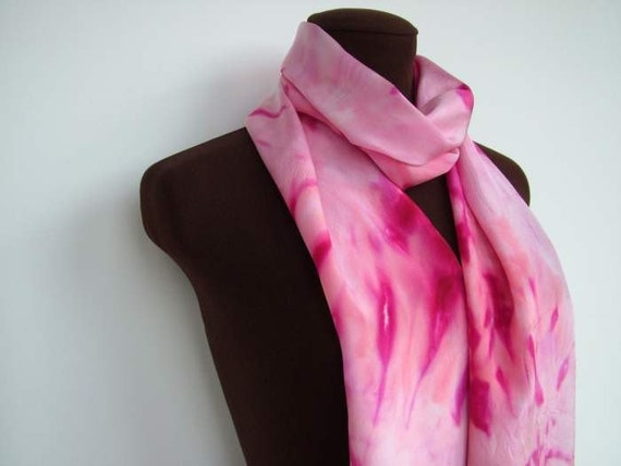 A Hand Painted Fuchsia and Pink Crepe de Chine Silk Scarf