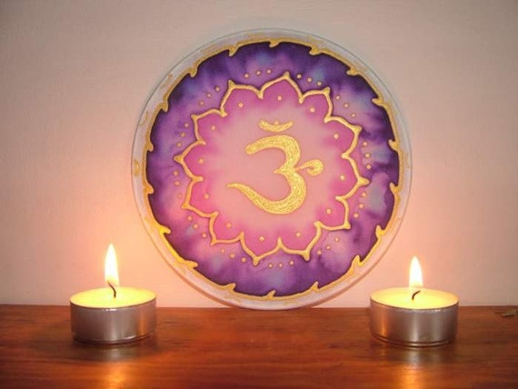 Hand painted silk window picture om suncatcher meditation
